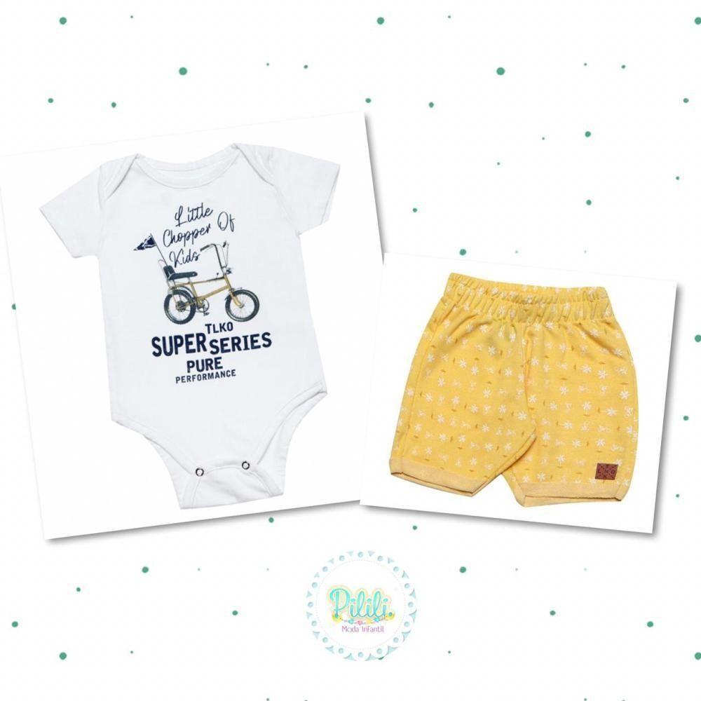 Conjunto Body Suedine e Shorts em Moletom Tholokko