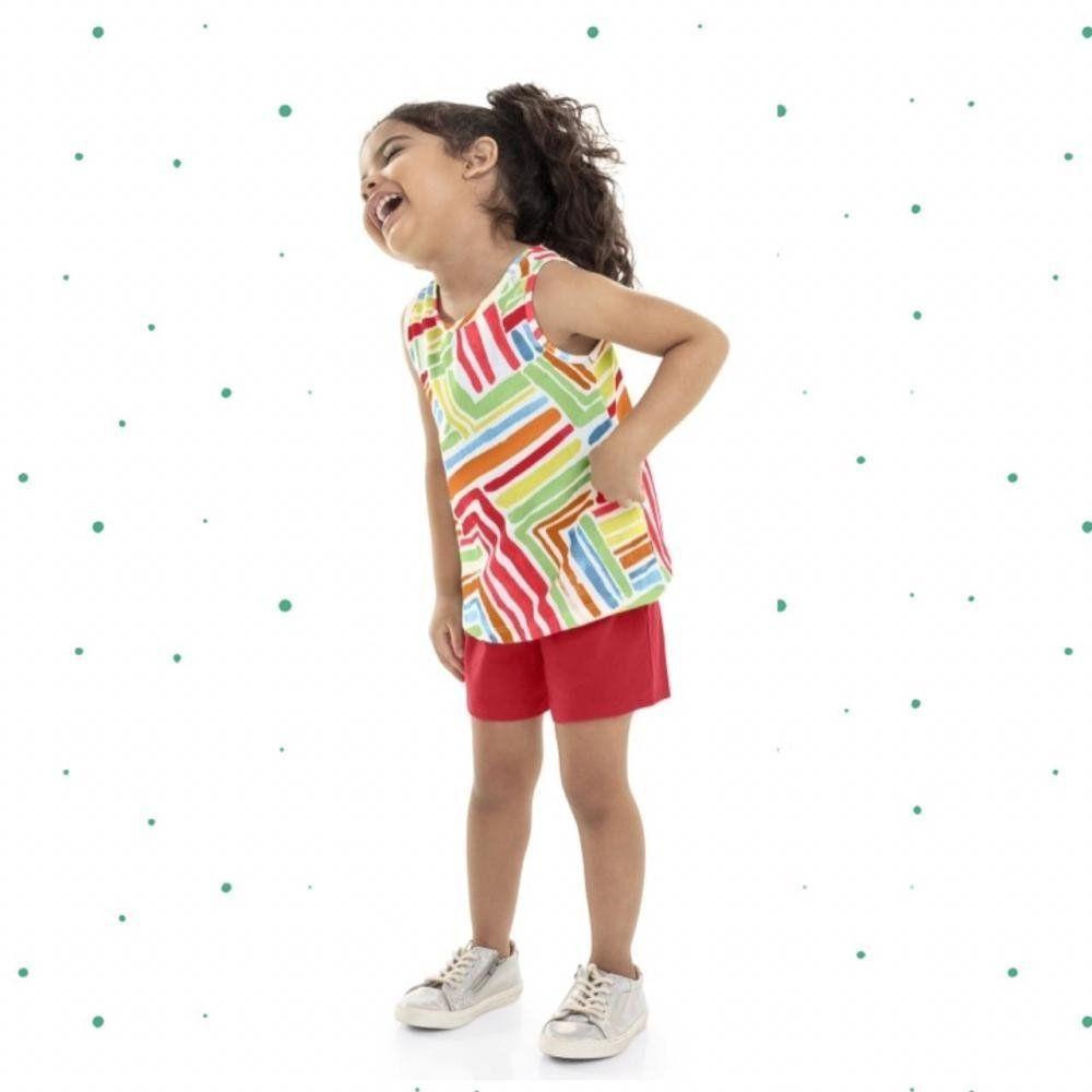 Conjunto Infantil Feminino Bee Loop Blusinha e Shorts em Meia Malha Listrado