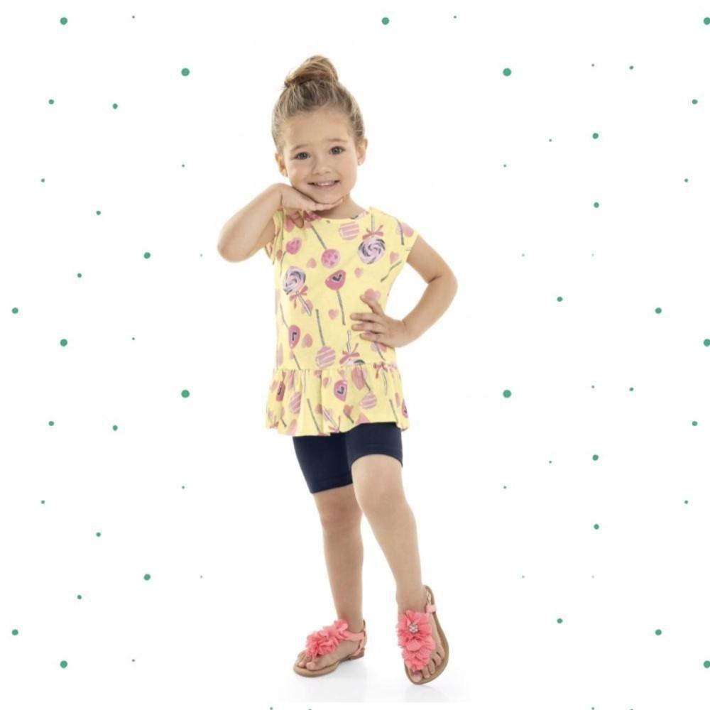 Conjunto Infantil Feminino Bee Loop Blusinha em Malha e Bermuda em Cotton na cor Amarelo