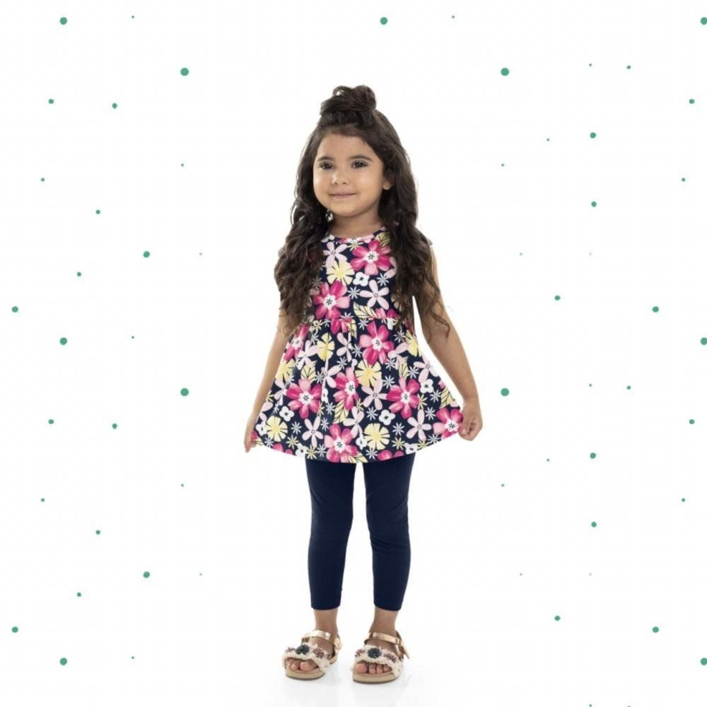 Conjunto Infantil Feminino Bee Loop Blusinha em Malha Floral  e Calça em Cotton