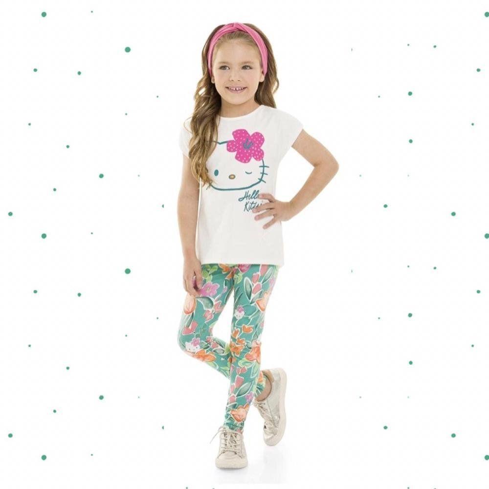 Conjunto Infantil Feminino Hello Kitty Blusinha em Algodão e Calça em Cotton