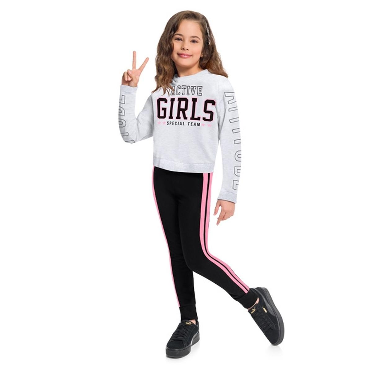 Conjunto Infantil Feminino Kyly Blusa e Calça Moletom Leve
