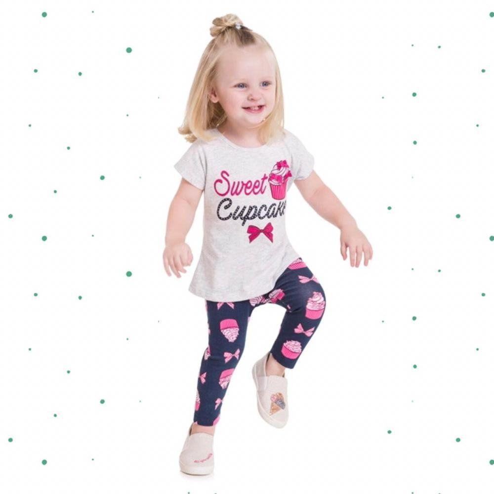 Conjunto Infantil Feminino Kyly Blusinha em Algodão e Legging em Cotton
