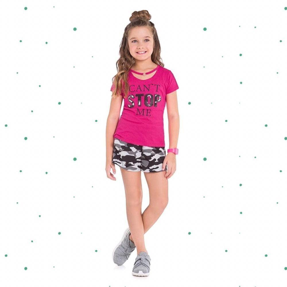 Conjunto Infantil Feminino Kyly Blusinha em Algodão e Short em Moletom