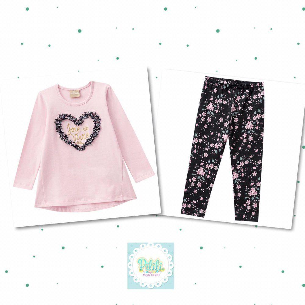 Conjunto Infantil Feminino Milon Blusa e Legging em Cotton Rosa Crepe