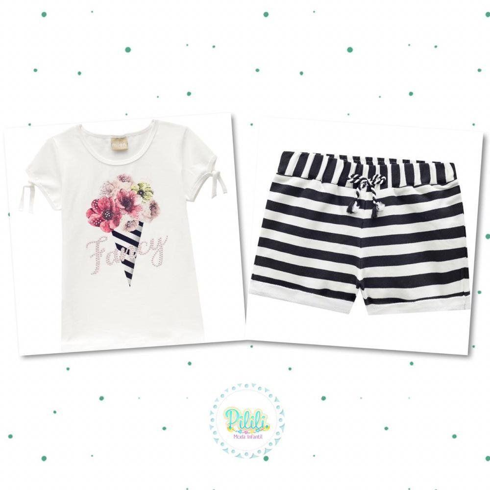 Conjunto Infantil Feminino Milon Blusinha em Cotton e Short em Moletinho