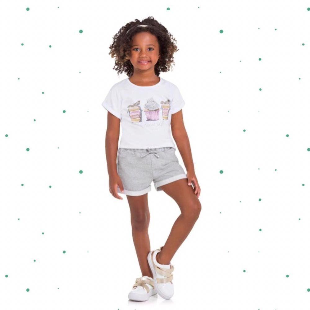 Conjunto Infantil Feminino Milon Blusinha em Cotton e Short em Moletom