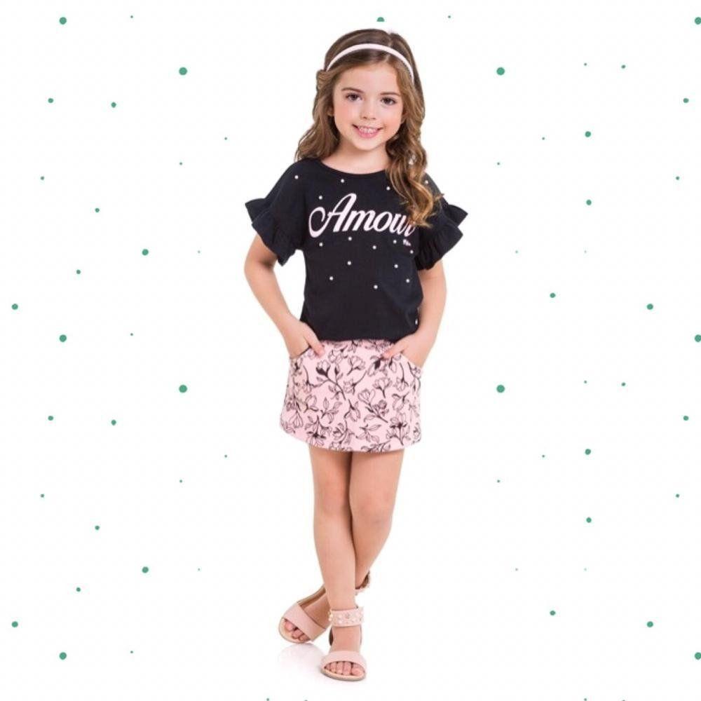 Conjunto Infantil Feminino Milon Blusinha em Cotton e Short-Saia em Moletom