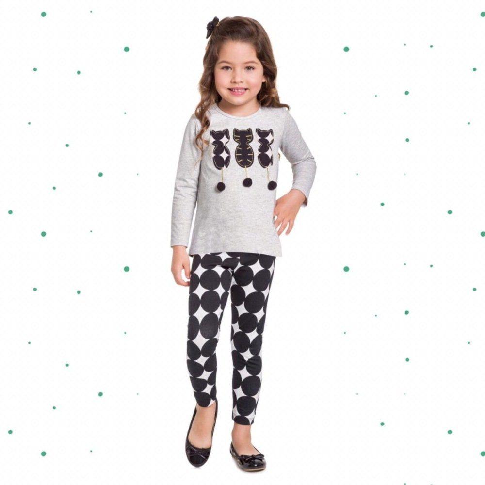 Conjunto Infantil Feminino MilonBlusa com Bordado Frontal Legging emCotton