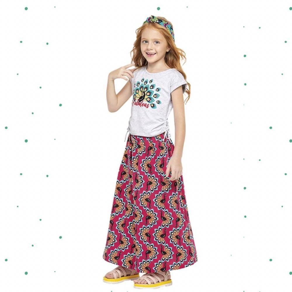 Conjunto Infantil Feminino Nanai Blusinha em Cotton e Saia em Malha