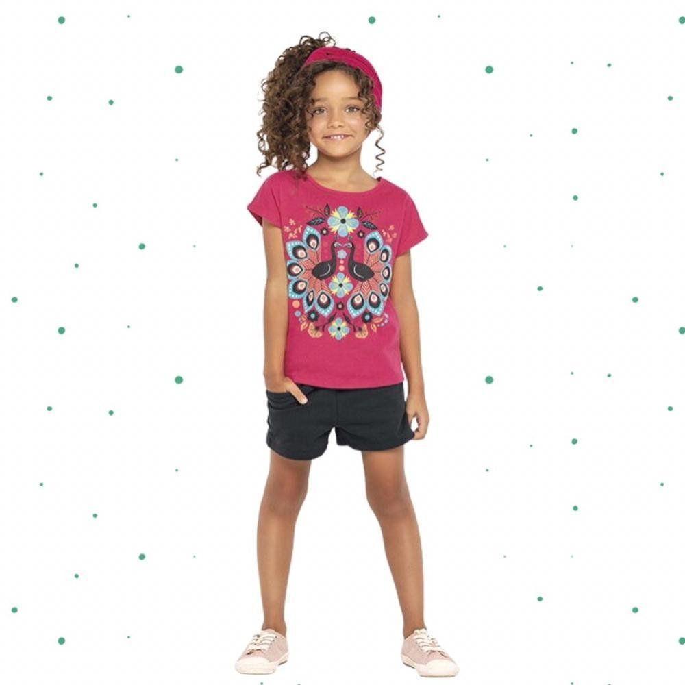 Conjunto Infantil Feminino Nanai Blusinha em Cotton e Short em Moletom