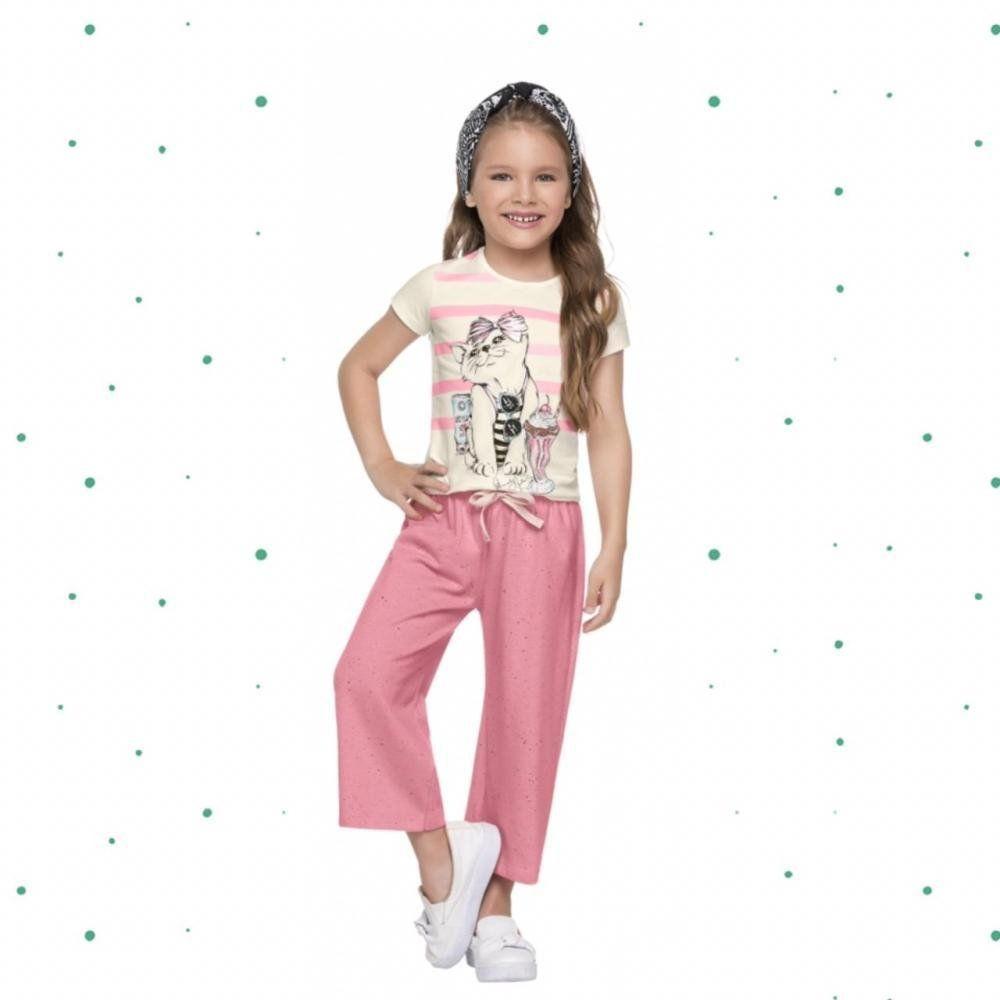 Conjunto Infantil Feminino Quimby Blusa em Cotton e Calça Pantacourt em Moletinho