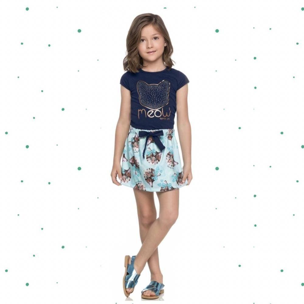 Conjunto Infantil Feminino Quimby Blusinha e Short-Saia em Cotton