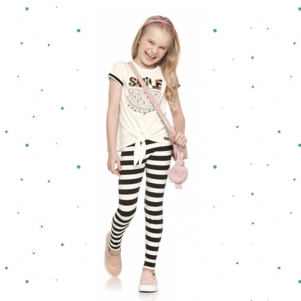 Conjunto Infantil Feminino Quimby Blusinha em Algodão e Calça em Cotton na cor Off White