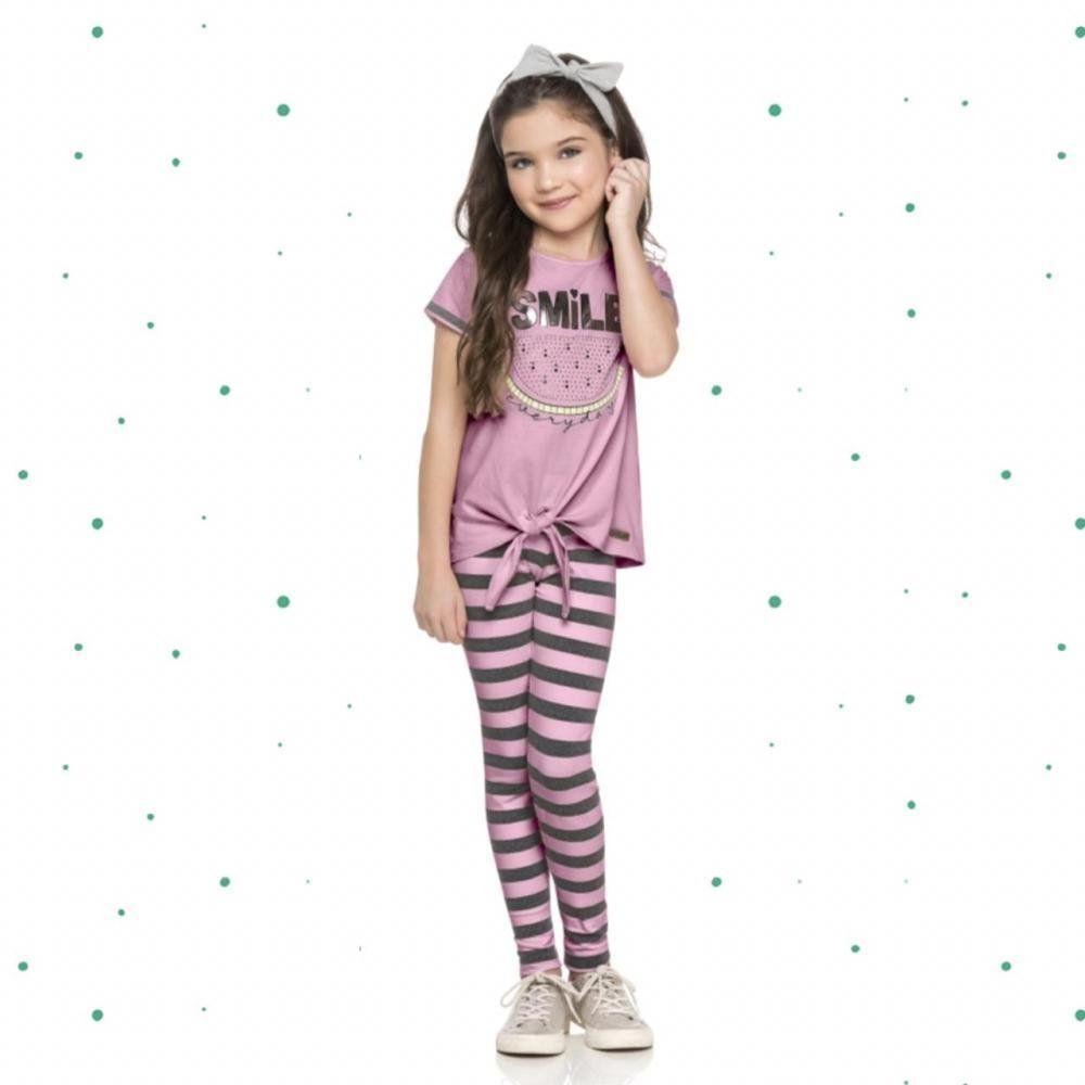 Conjunto Infantil Feminino Quimby Blusinha em Algodão e Calça em Cotton na cor Rosa