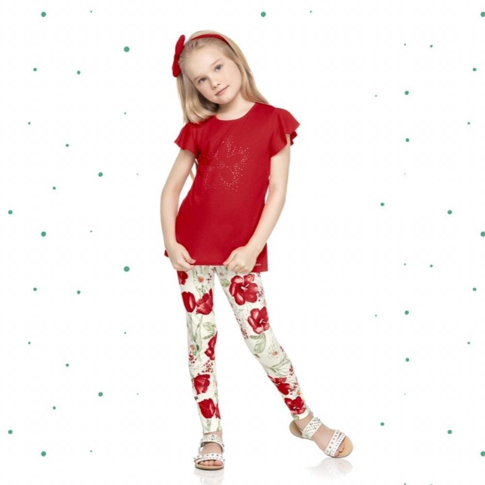 Conjunto Infantil Feminino Quimby Blusinha em Algodão e Legging em Cotton