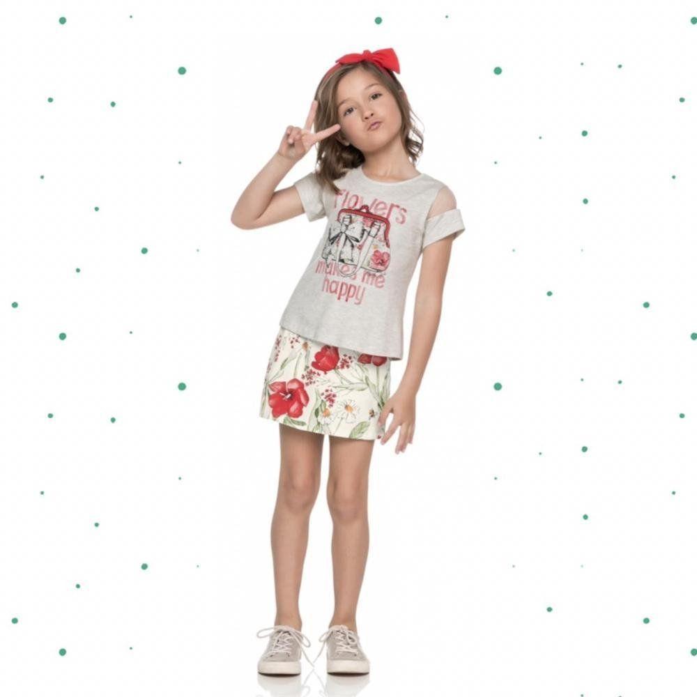 Conjunto Infantil Feminino Quimby Blusinha em Algodão e Short-Saia em Cotton