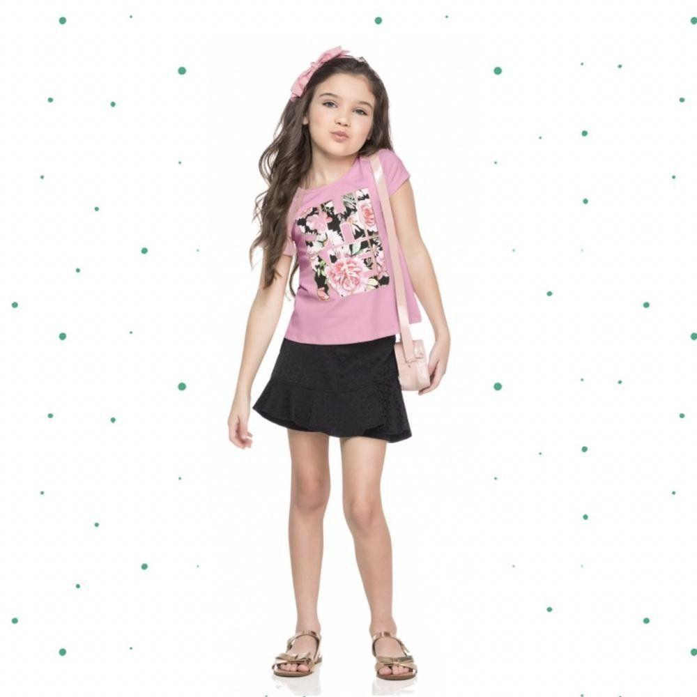 Conjunto Infantil Feminino Quimby Blusinha em Algodão e Short-Saia em Malha Jacquard na cor Rosa