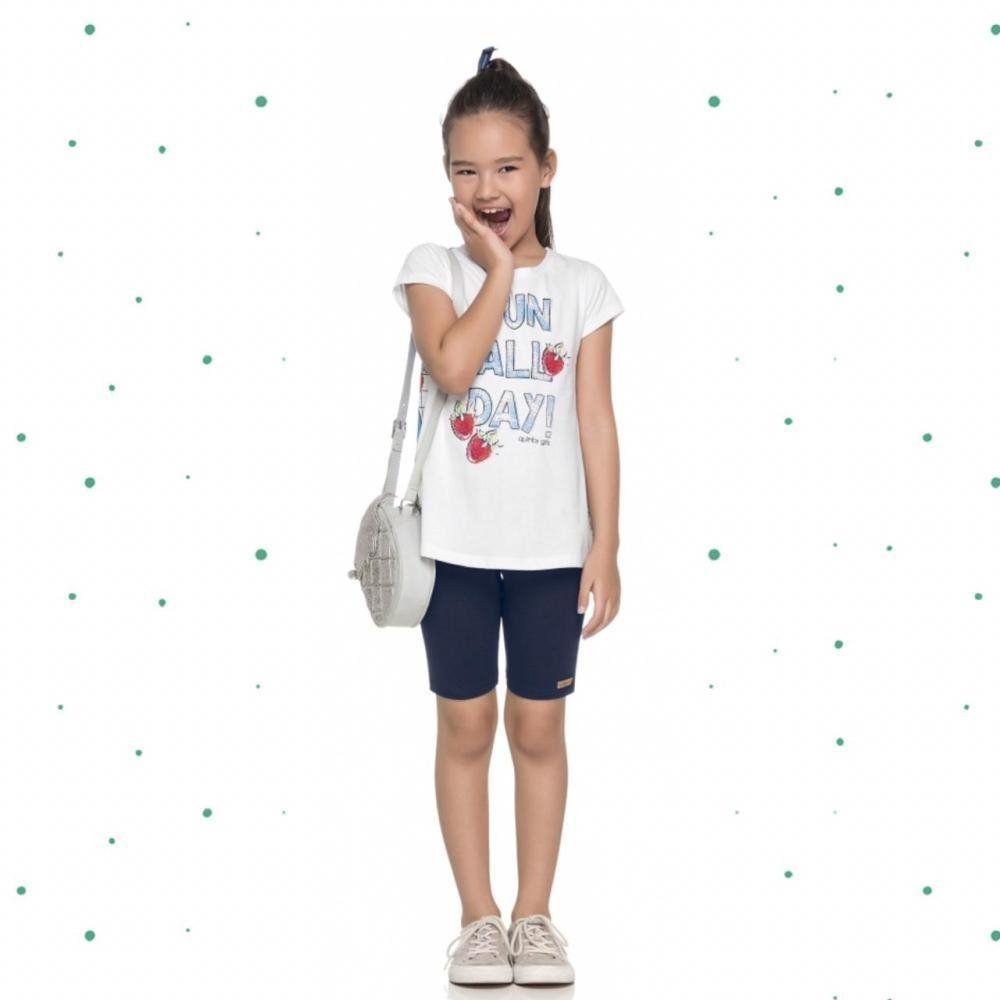 Conjunto Infantil Feminino Quimby Blusinha em Malha e Bermuda em Cotton na cor Branco