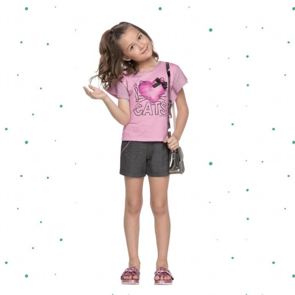 Conjunto Infantil Feminino Quimby Blusinha em Malha e Short em Moletinho na Cor Rosa