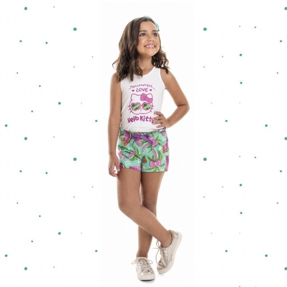 Conjunto Infantil Hello Kitty Blusinha e Short em Algodão