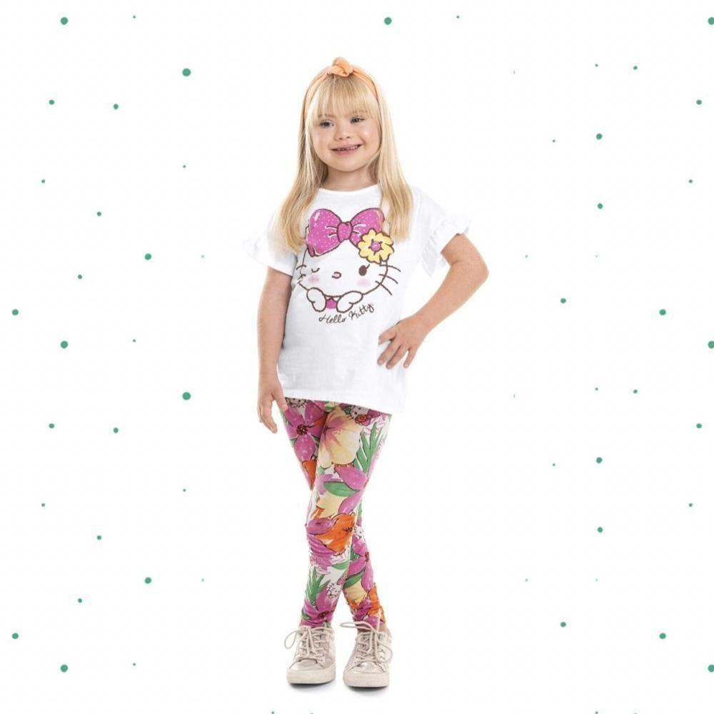 Conjunto Infantil Hello Kitty Blusinha em Algodão e Legging em Cotton