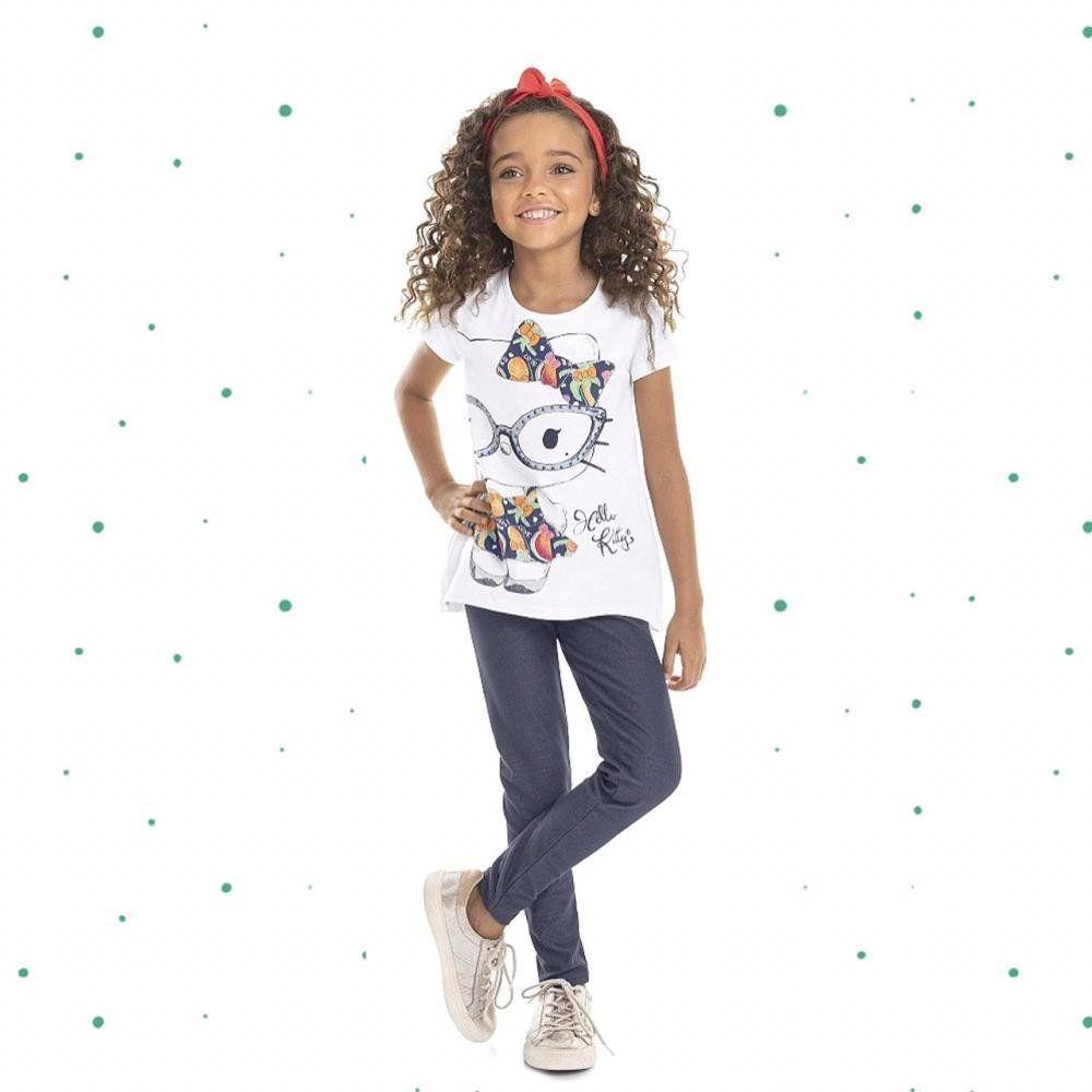 Conjunto Infantil Hello Kitty Blusinha em Cottton e Legging em Malha Jeans