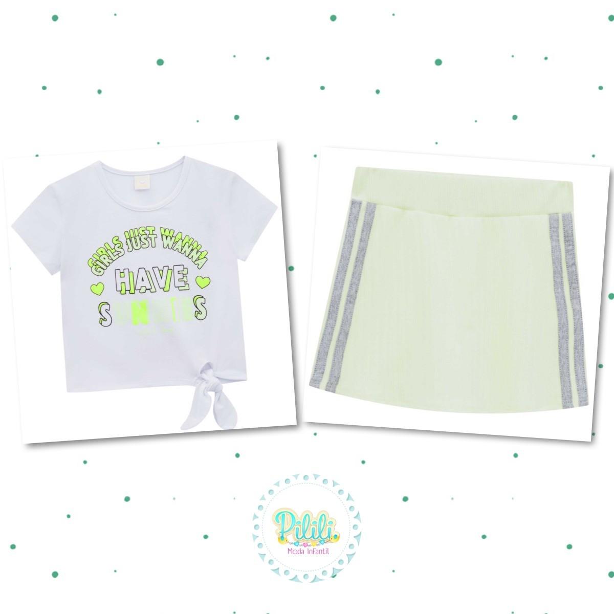 Conjunto Infantil INFANTI Blusa Cotton Short-Saia Malha