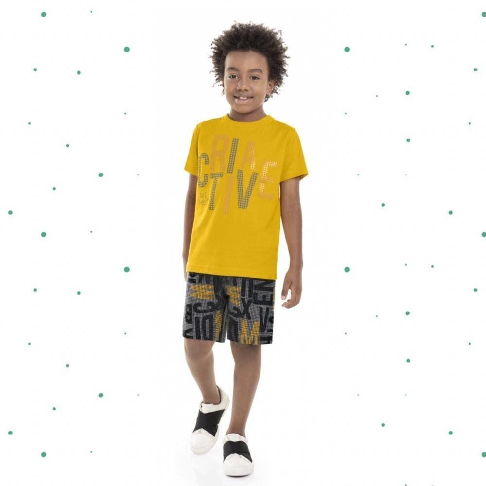 Conjunto Infantil Masculino Bee Loop Camiseta em Algodão e Bermuda em Moletinho na cor Amarelo