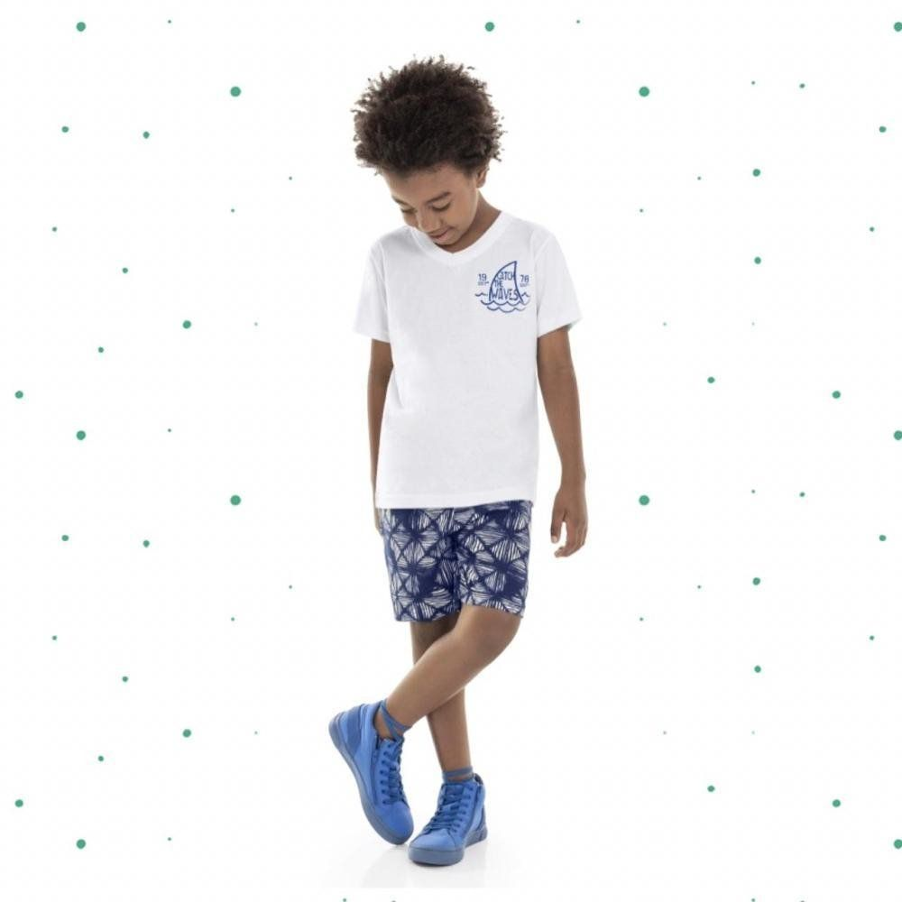 Conjunto Infantil Masculino Bee Loop Camiseta em Algodão e Bermuda em Moletinho na cor Branco