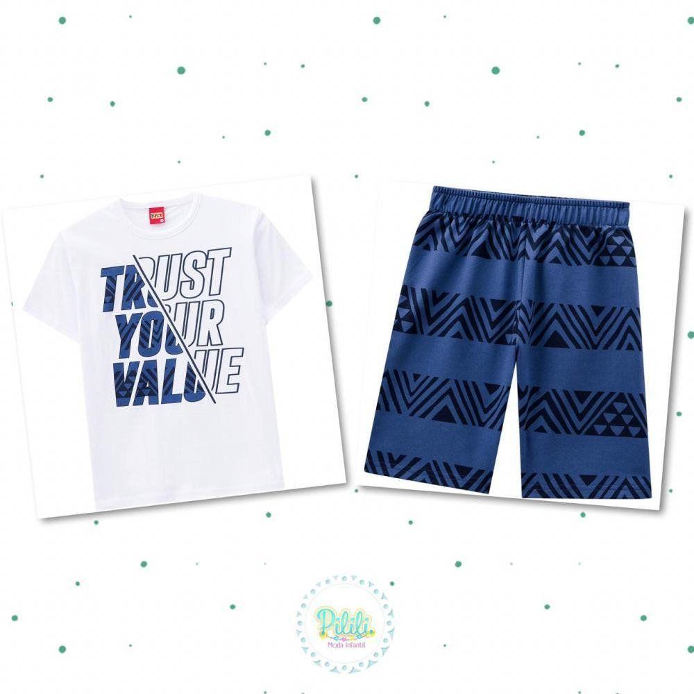 Conjunto Infantil Masculino Kyly Camiseta em Algodão e Bermuda em Moletom na cor Branco