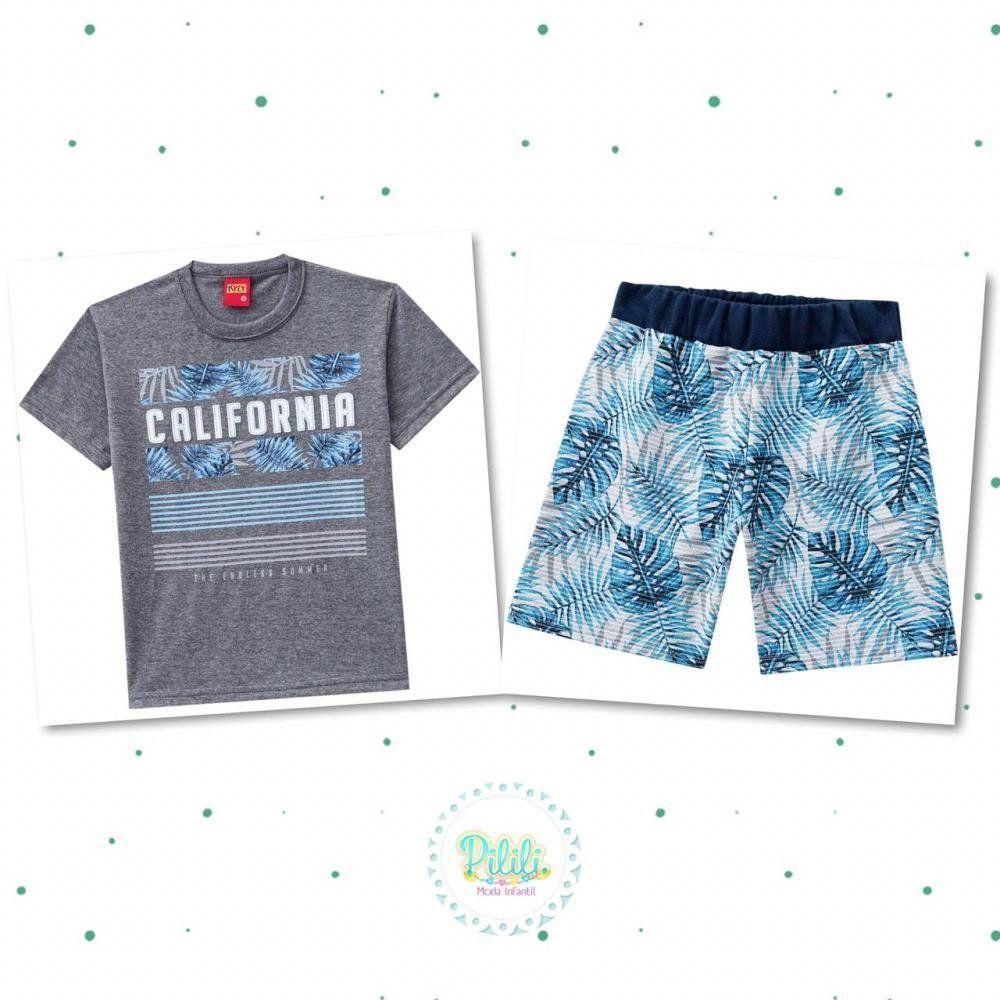 Conjunto Infantil Masculino Kyly Camiseta em Algodão e Bermuda em Moletom na cor Mescla