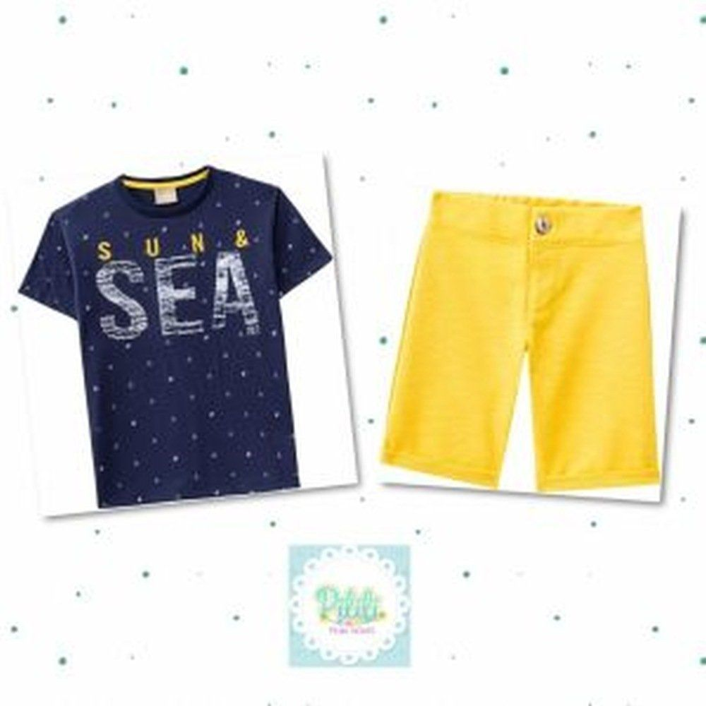 Conjunto Infantil Masculino Milon Camiseta Meia Malha e Bermuda Moletom Flamê