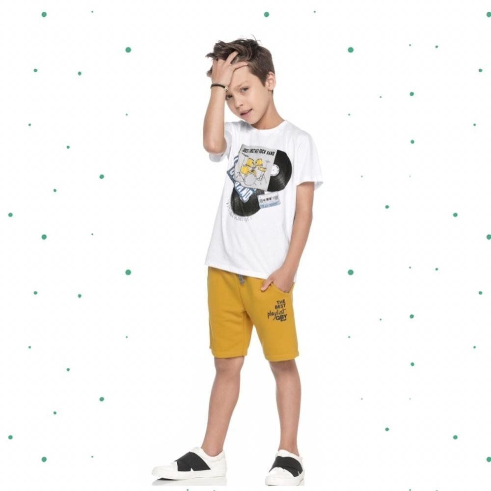 Conjunto Infantil Masculino Quimby Camiseta em Algodão e Bermuda Moletom na cor Branca