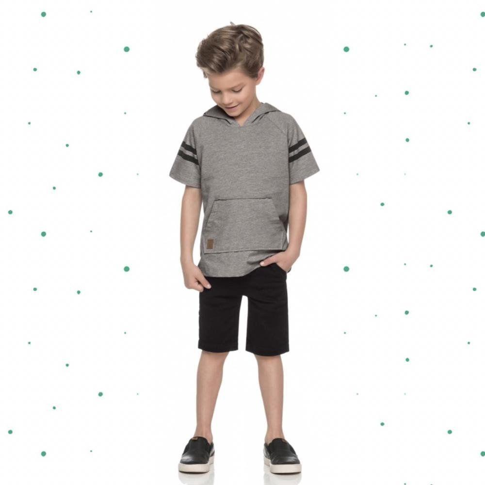 Conjunto Infantil Masculino Quimby Camiseta em Malha e Bermuda em Sarja