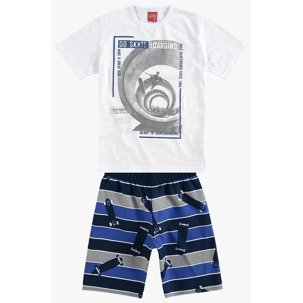 Conjunto Kyly Camiseta Algodão Bermuda Microfibra