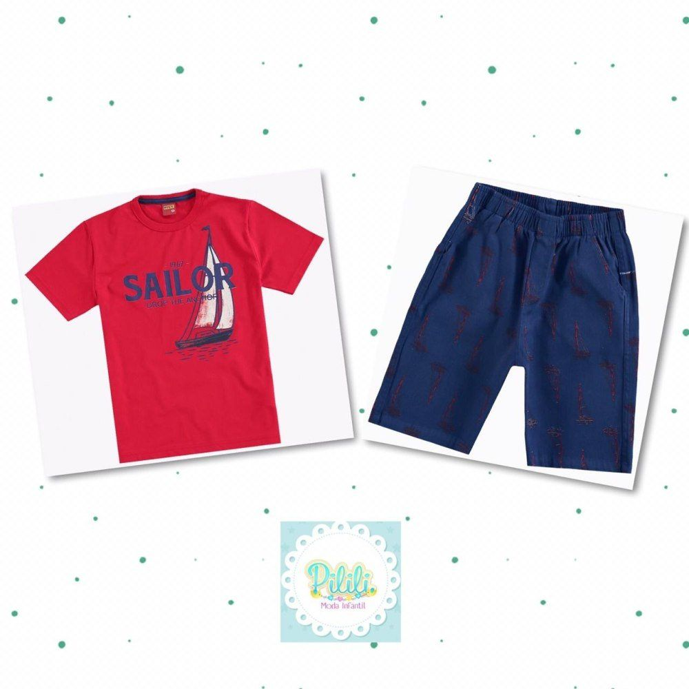 Conjunto Kyly Camiseta Algodão Bermuda Sarja com Elastano
