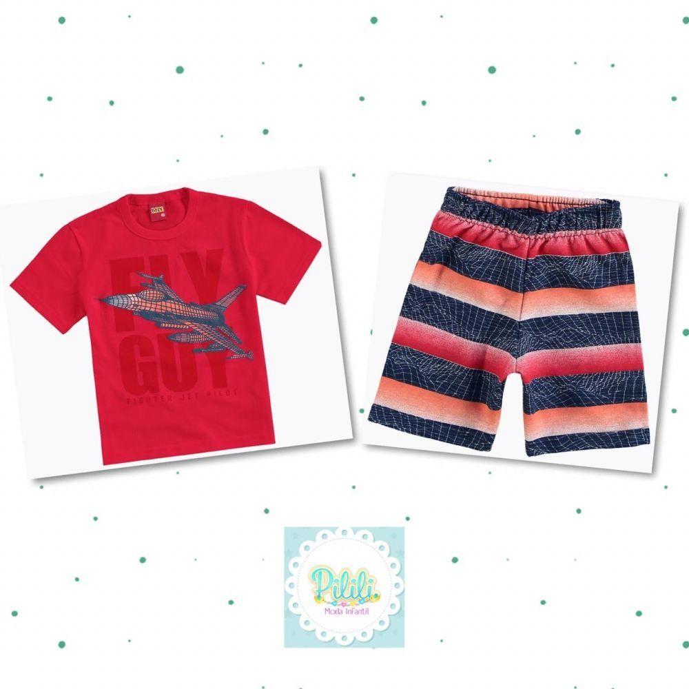 Conjunto Kyly Camiseta Algodão e Bermuda em Moletom 3 Cabos