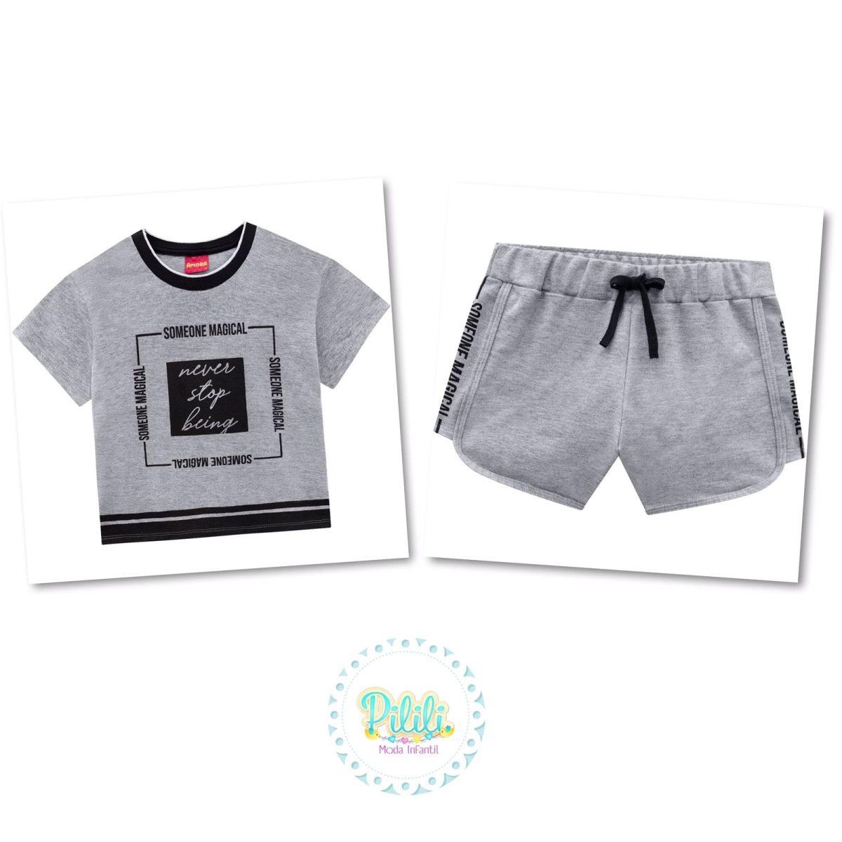 Conjunto Menina Amora Cropped e Shorts em moletom - Mescla