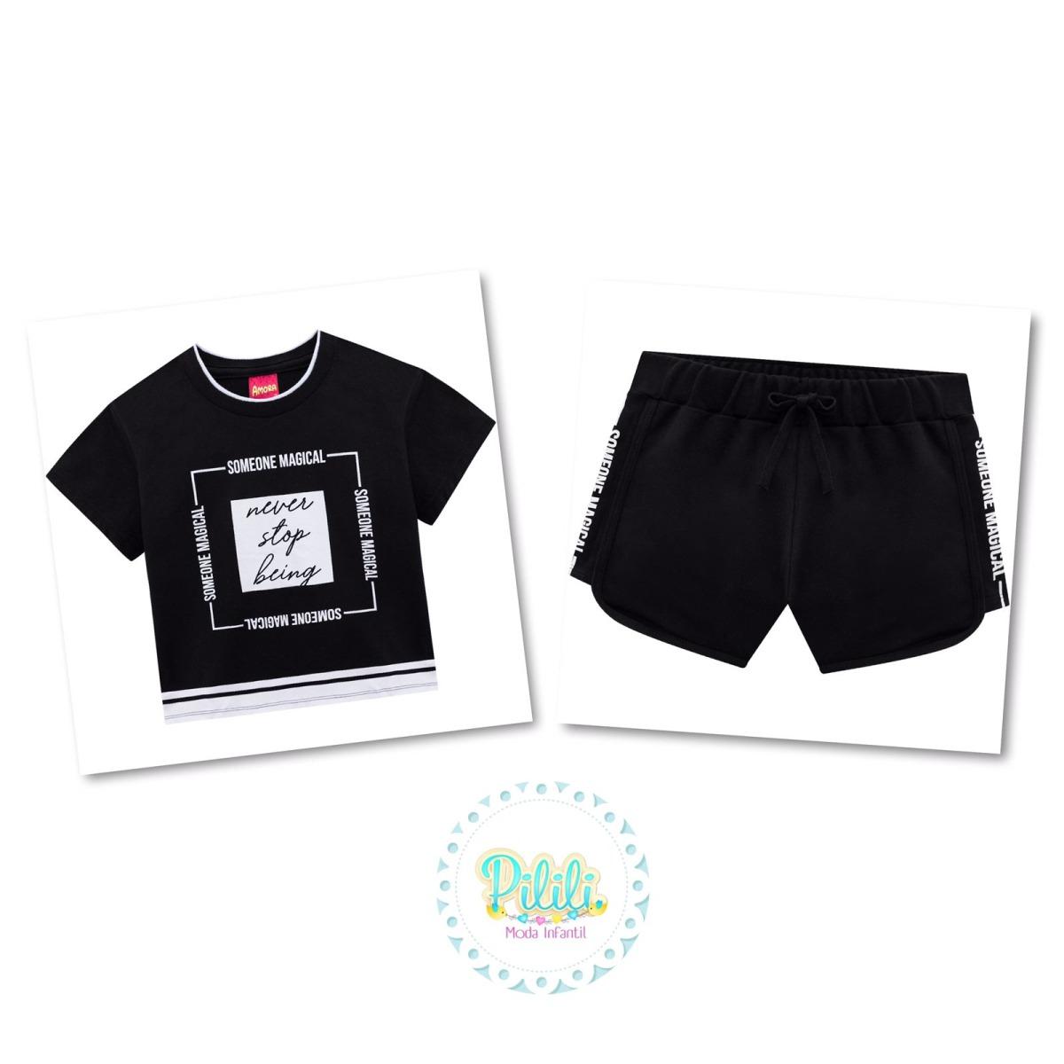 Conjunto Menina Amora Cropped e Shorts-Preto