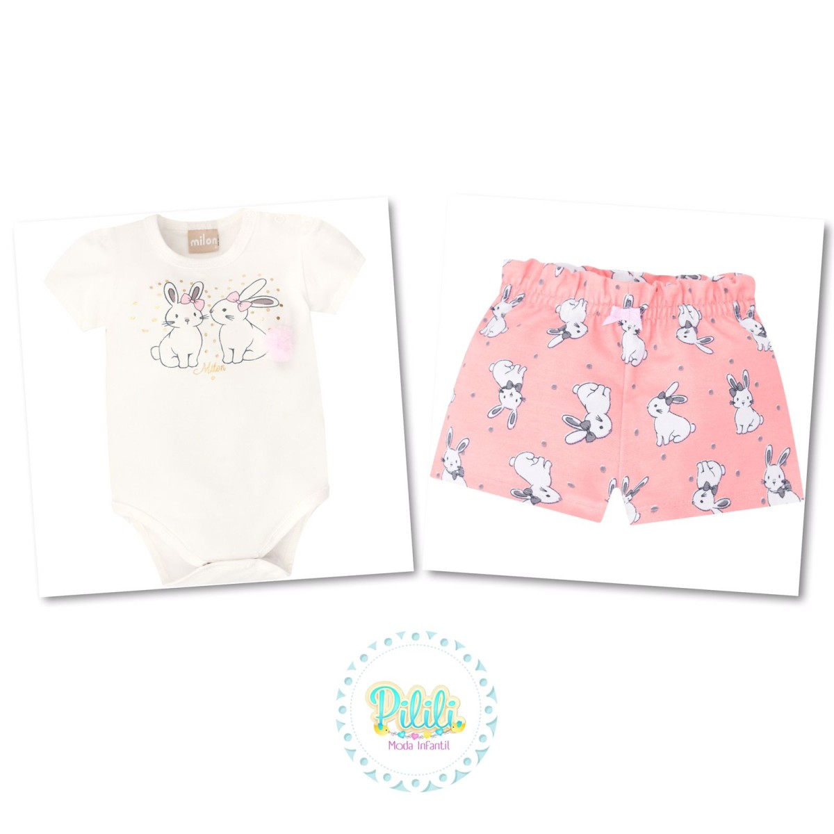 Conjunto Menina Bebê Milon Body e Shorts