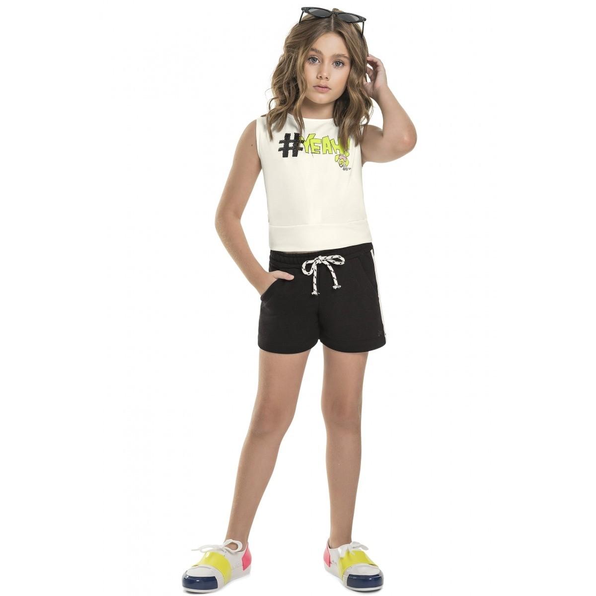 Conjunto Menina Gloss Blusa Cotton Shorts Moletinho