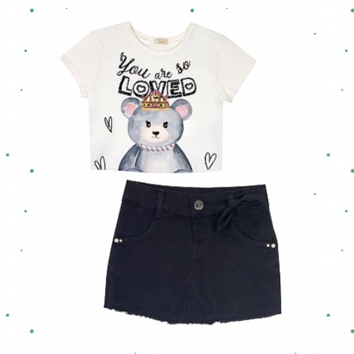 Conjunto Menina Infanti Blusa Boxy Cotton Short-Saia Sarja