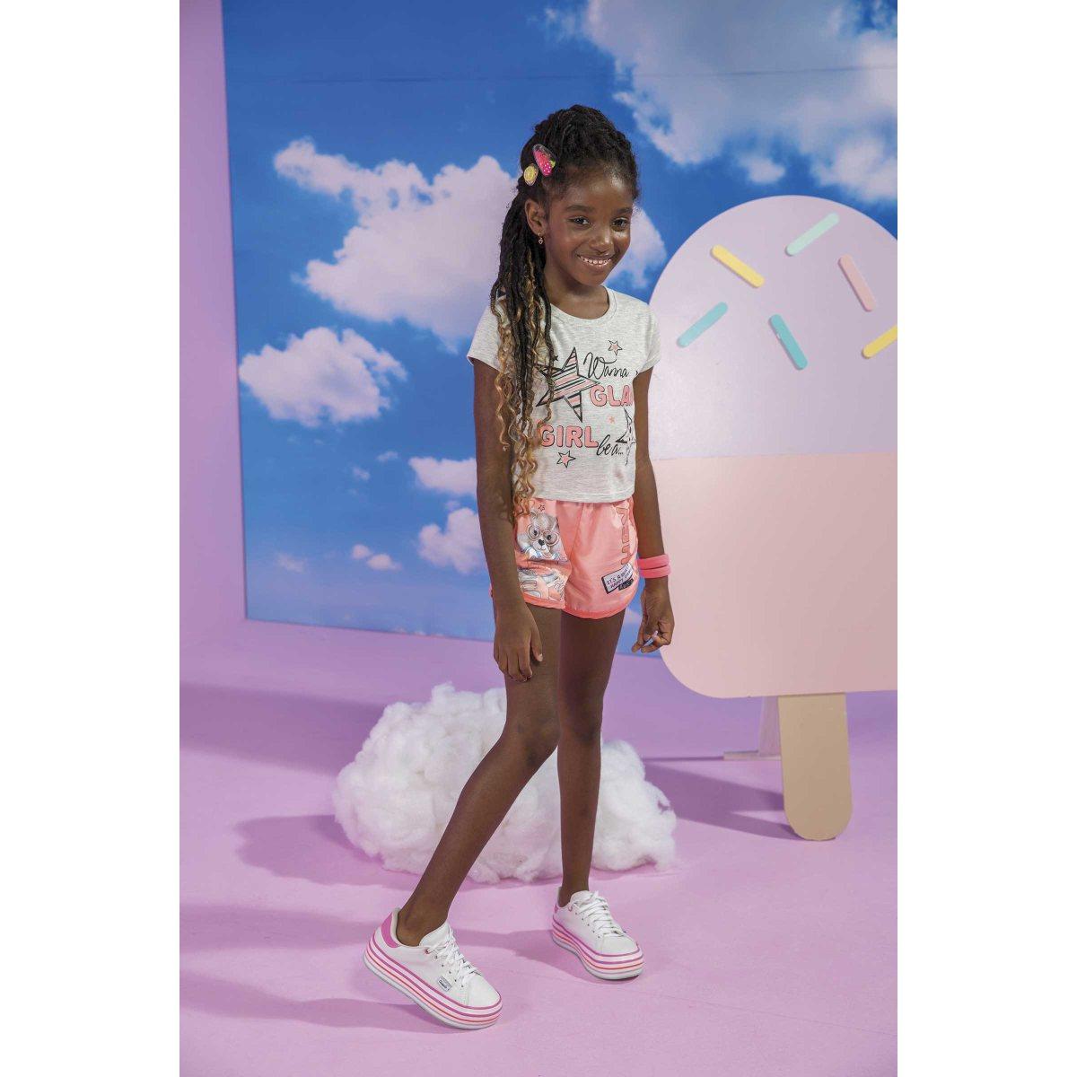 Conjunto Menina Kukiê Blusa e Shorts em nylon