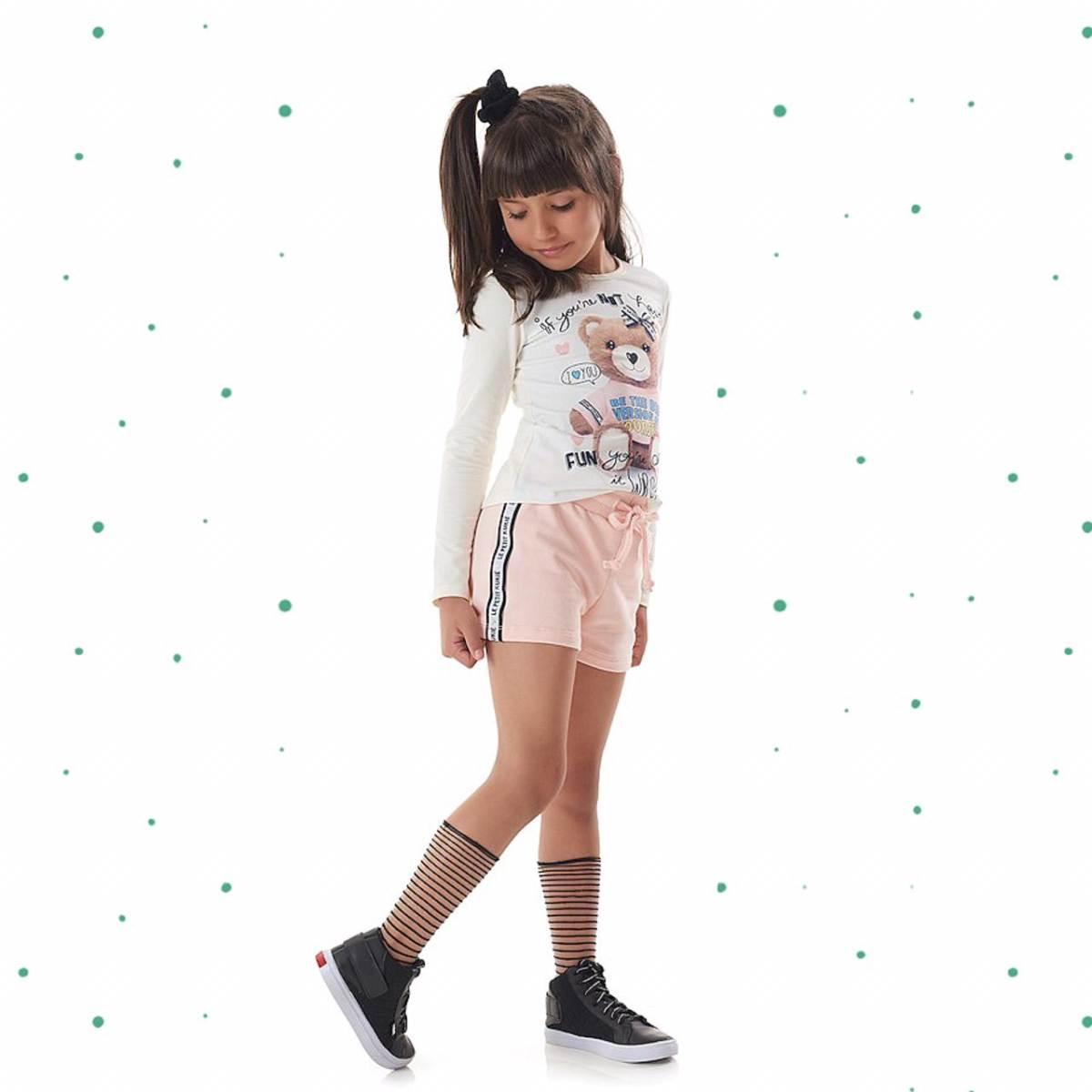 Conjunto Menina Kukiê Blusa em Cotton e Shorts em Molecotton