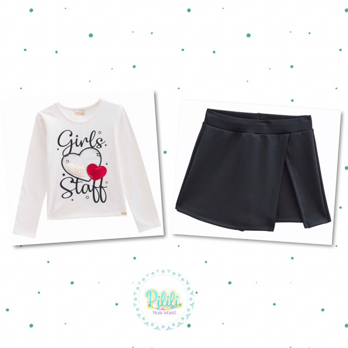 Conjunto Menina Kukiê Blusa em Cotton e Shorts-Saia em Fly Tech