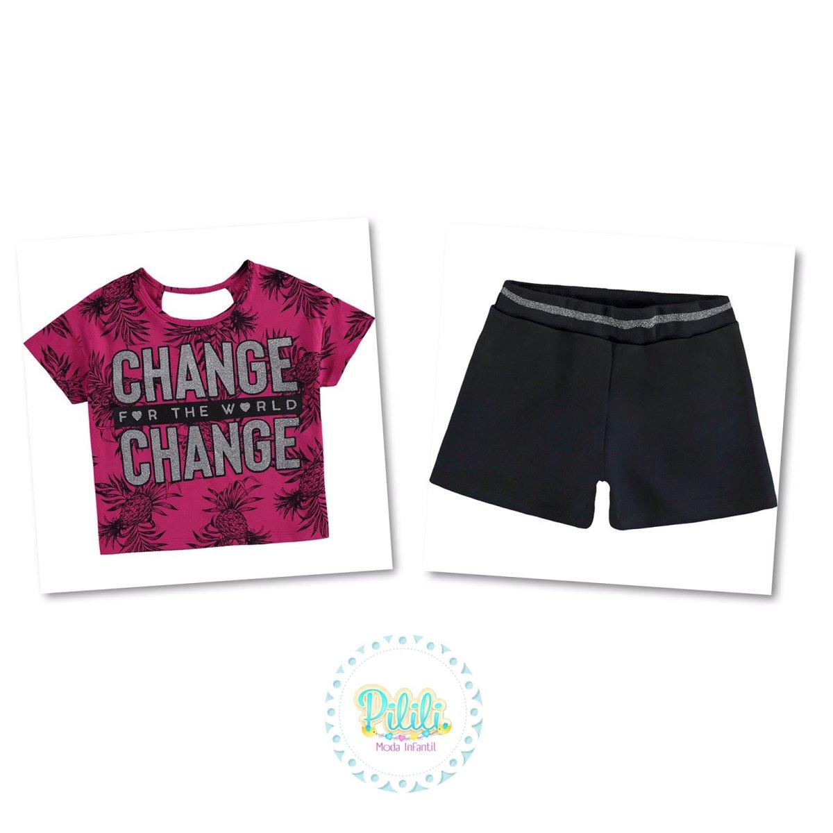 Conjunto Menina Kyly Blusa Cropped e Shorts