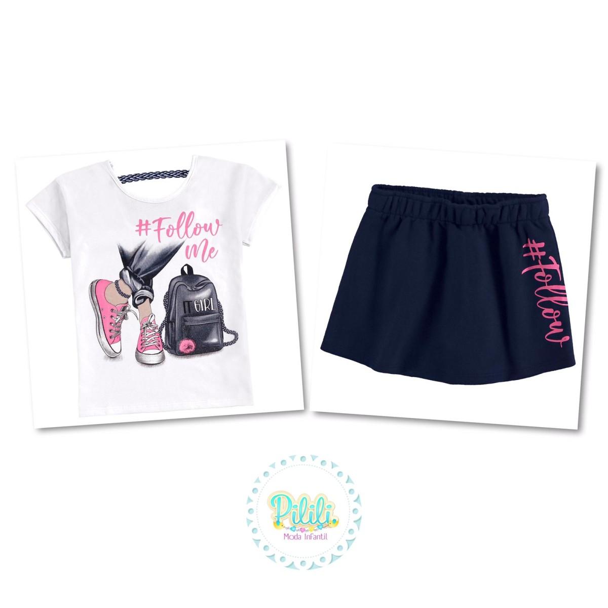 Conjunto Menina Kyly blusa e short-saia