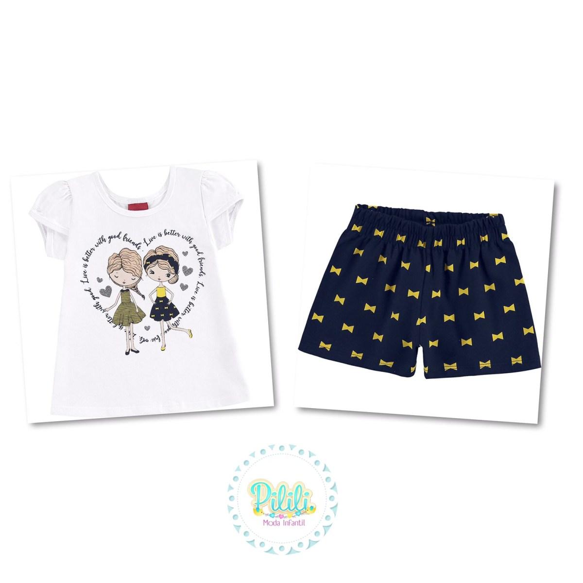 Conjunto Menina Kyly blusinha e shorts - Branco