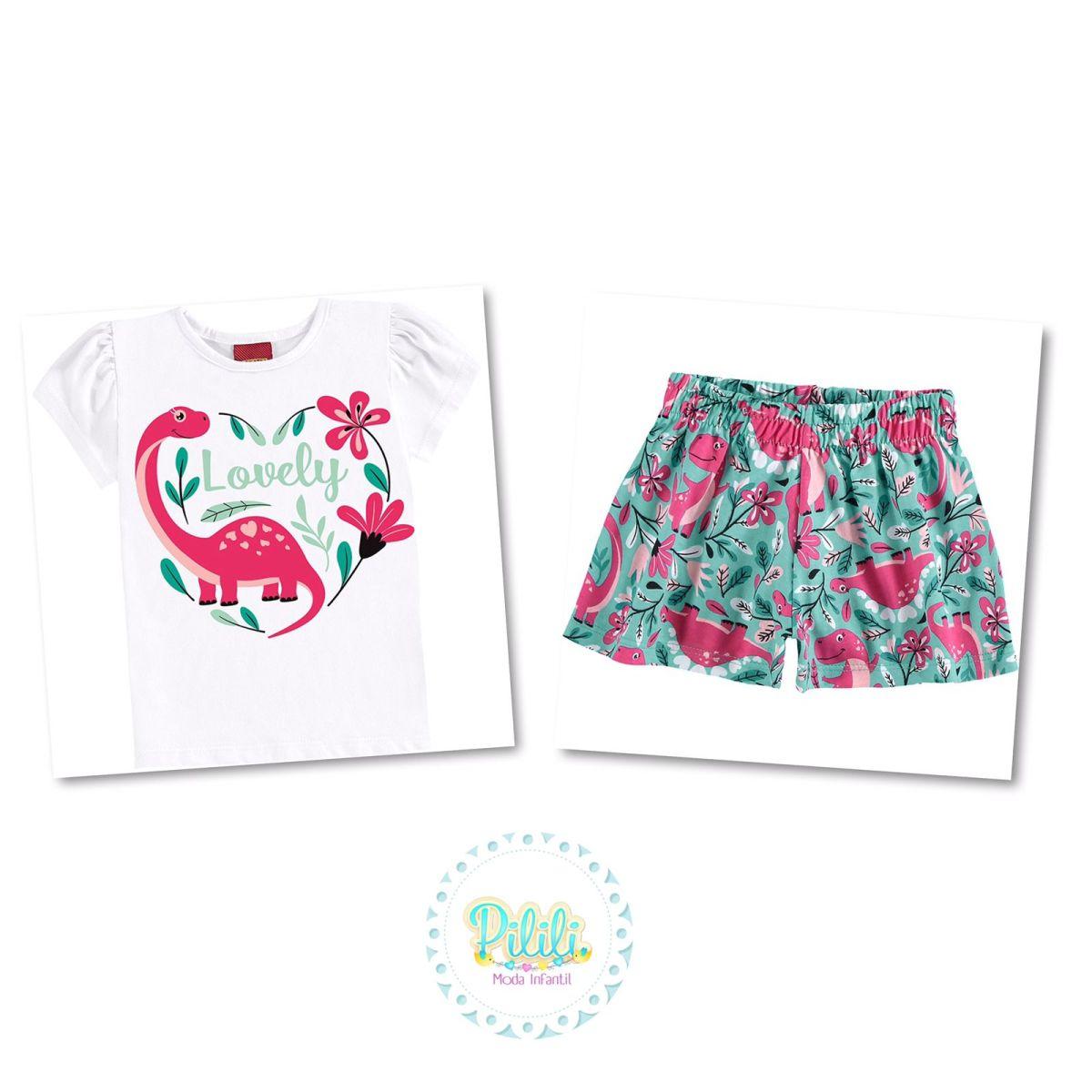 Conjunto Menina Kyly blusinha e shorts em Algodão